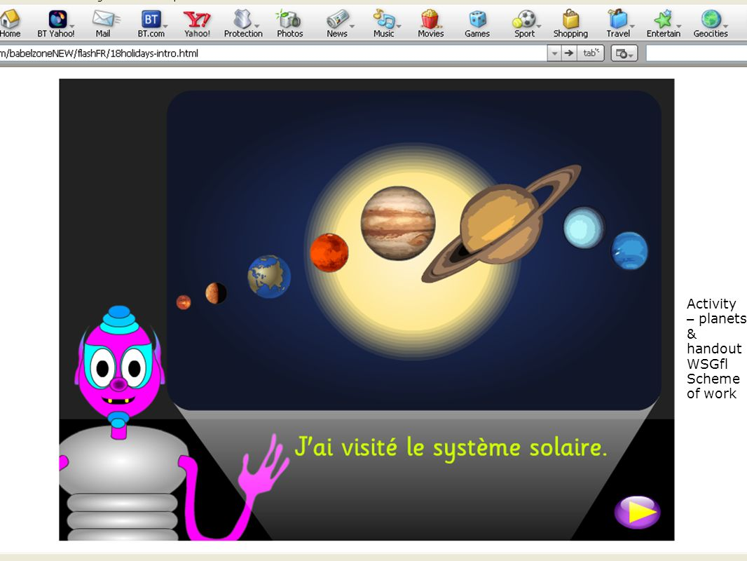 Handout/activity from planets