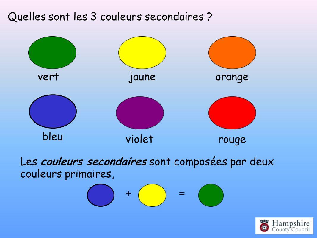 Quelles sont les 3 couleurs secondaires