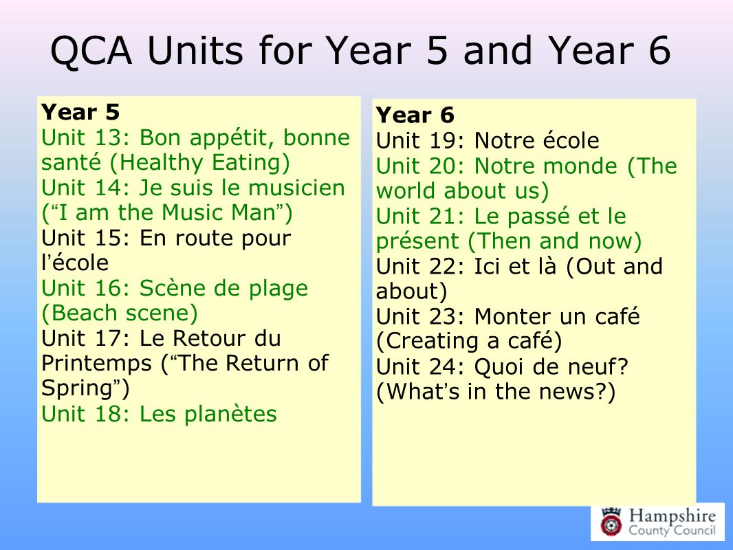 QCA Units for Year 5 and Year 6