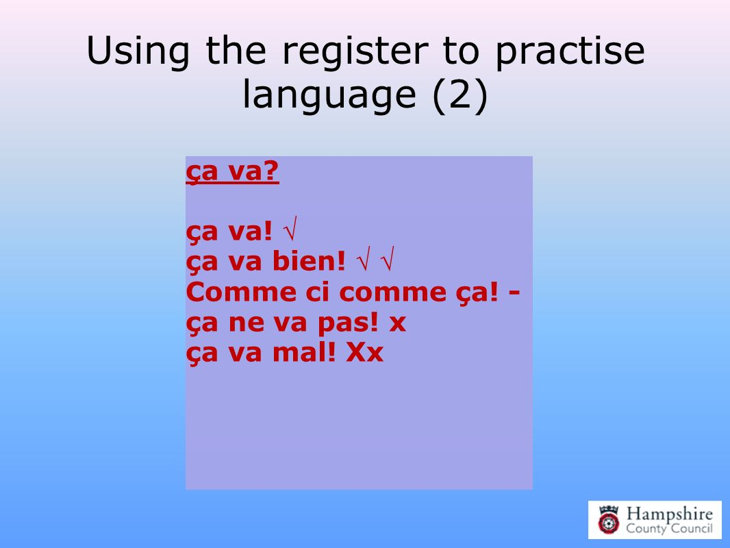 Using the register to practise language (2)
