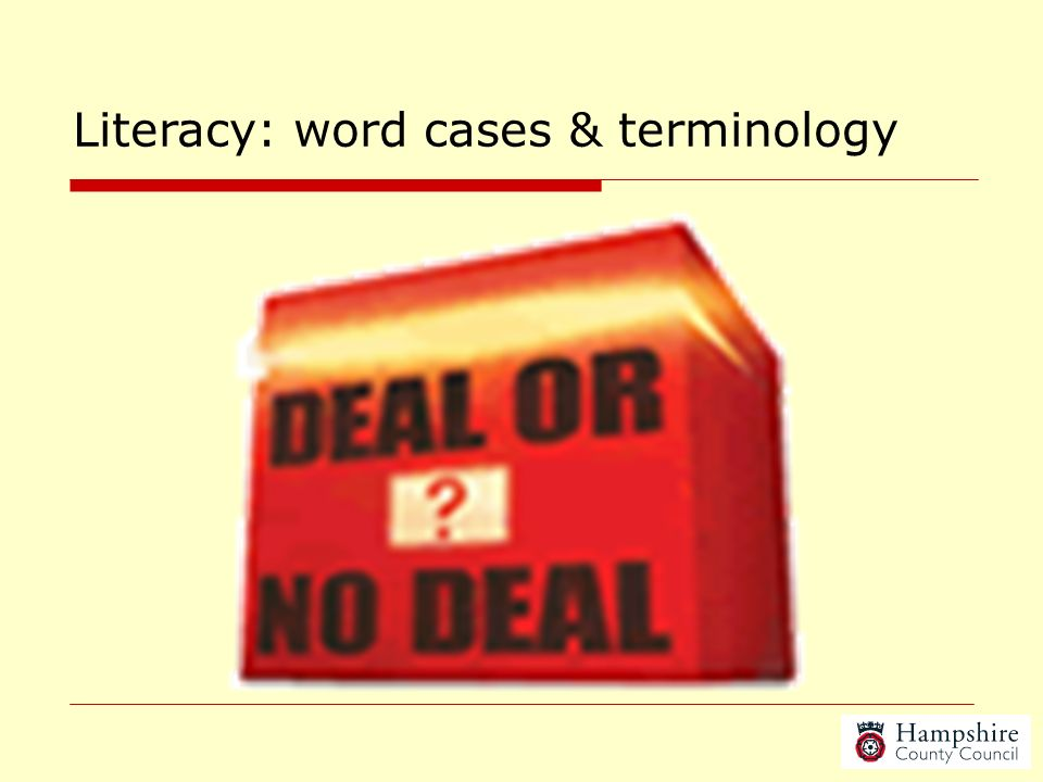 Literacy: word cases & terminology