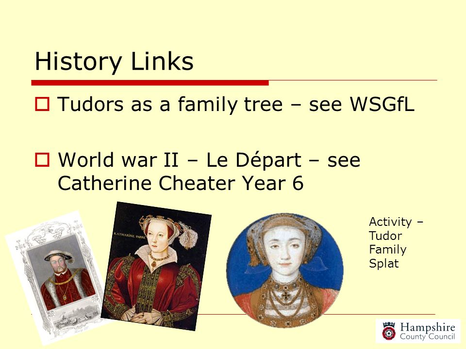 History Links Tudors as a family tree – see WSGfL