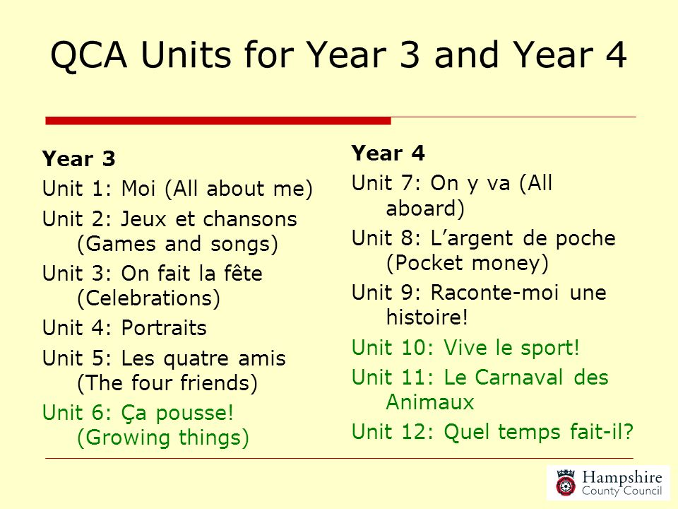 QCA Units for Year 3 and Year 4