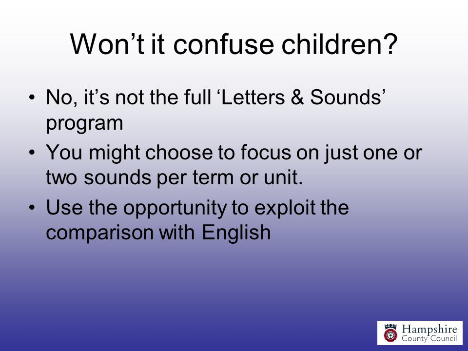 Won't it confuse children