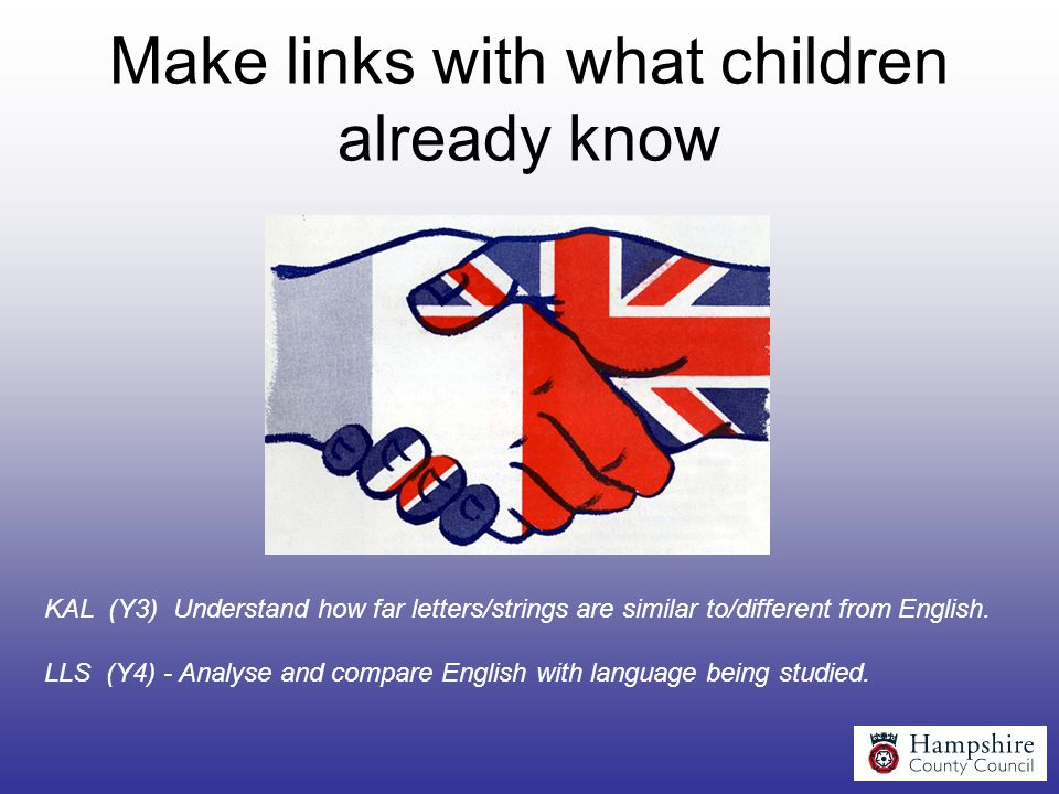 Make links with what children already know