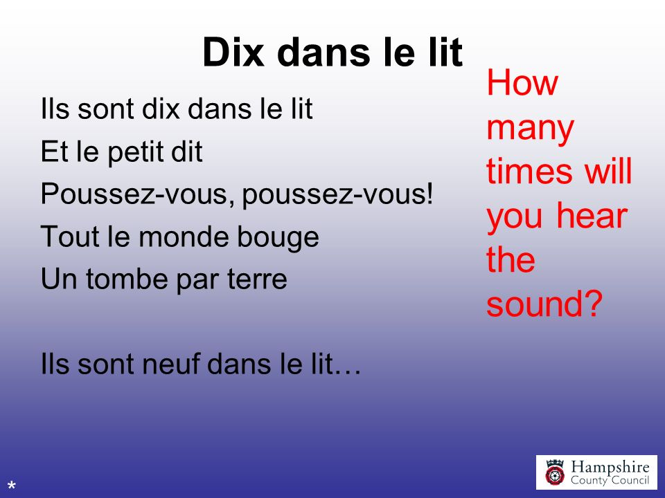 Dix dans le lit How many times will you hear the sound