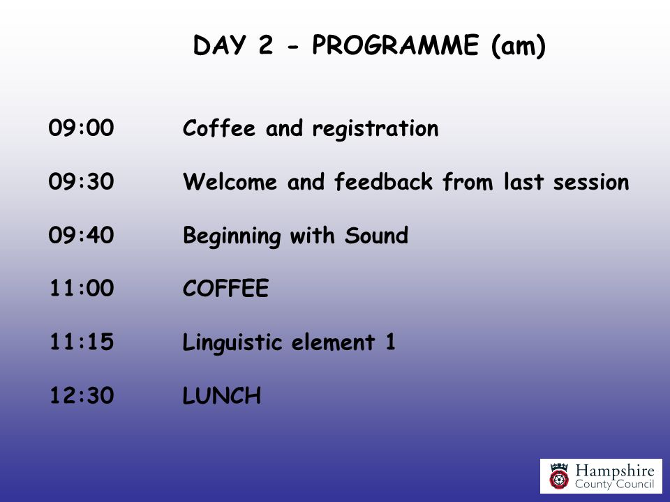 DAY 2 - PROGRAMME (am) 09:00 Coffee and registration
