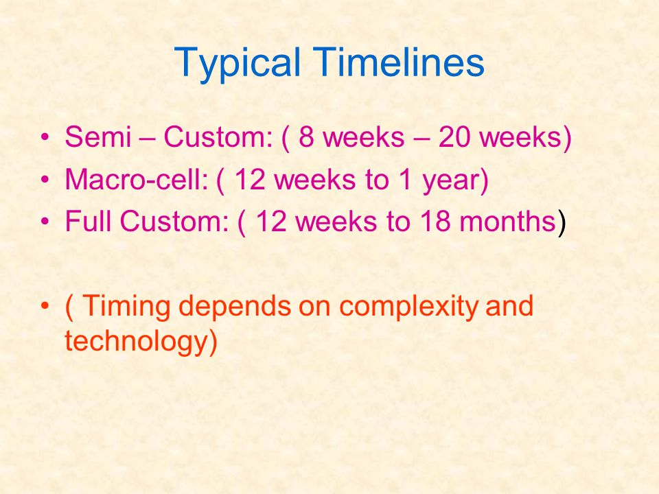 Typical Timelines Semi – Custom: ( 8 weeks – 20 weeks)
