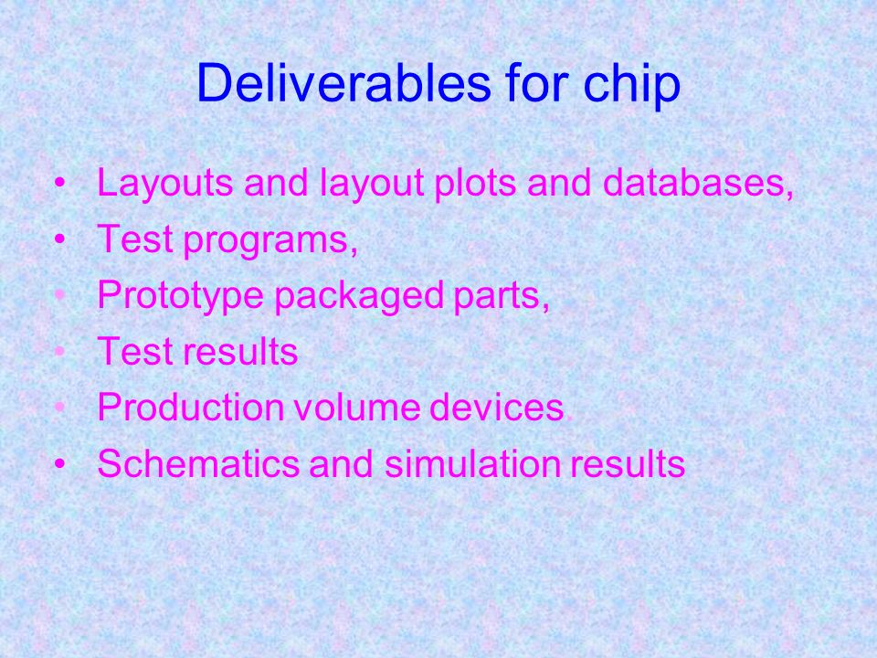 Deliverables for chip Layouts and layout plots and databases,