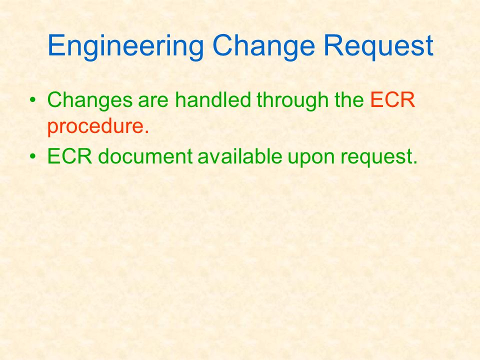 Engineering Change Request