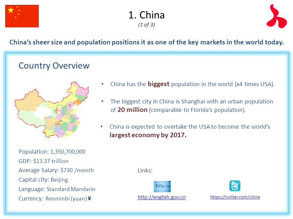 an overview of the country of china China is the world's most populous country, with a continuous culture stretching back nearly 4,000 years many of the elements that make up the foundation of the modern world originated in china.