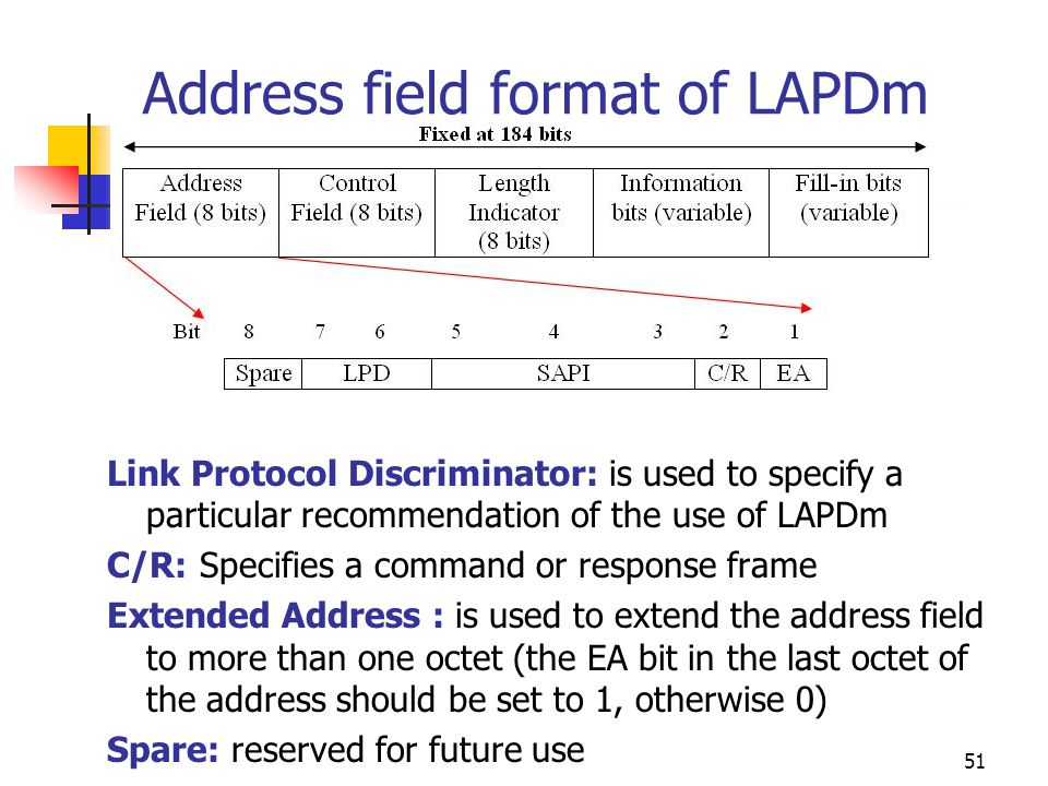Address field format of LAPDm
