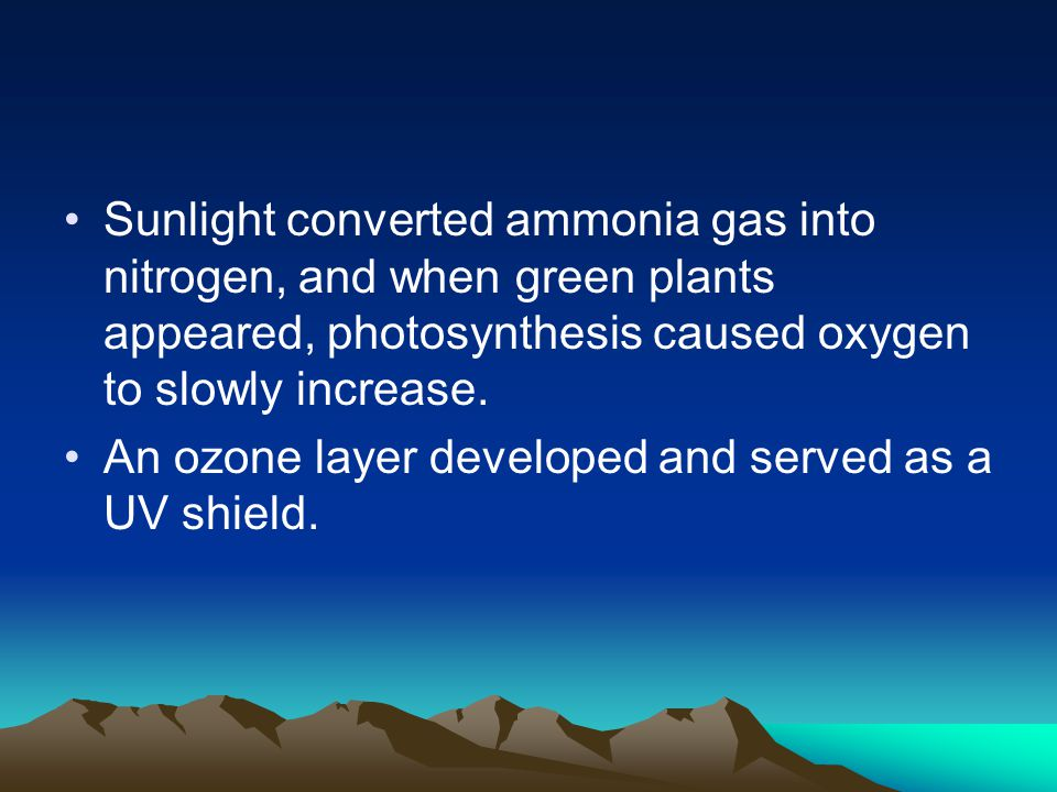 Sunlight converted ammonia gas into nitrogen, and when green plants appeared, photosynthesis caused oxygen to slowly increase.