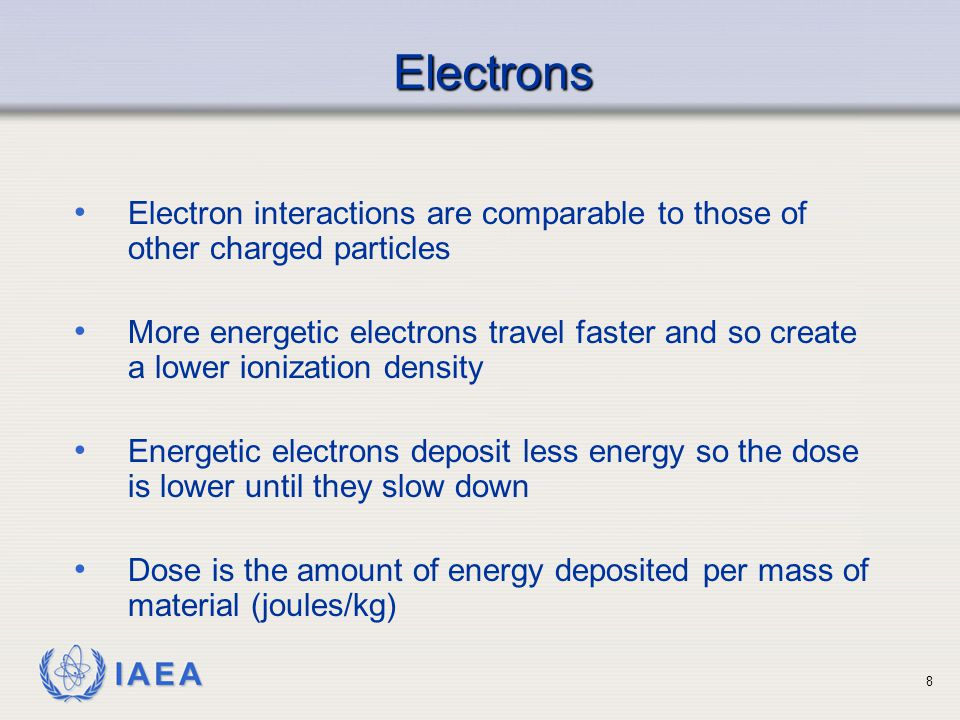 Electrons Electron interactions are comparable to those of other charged particles.