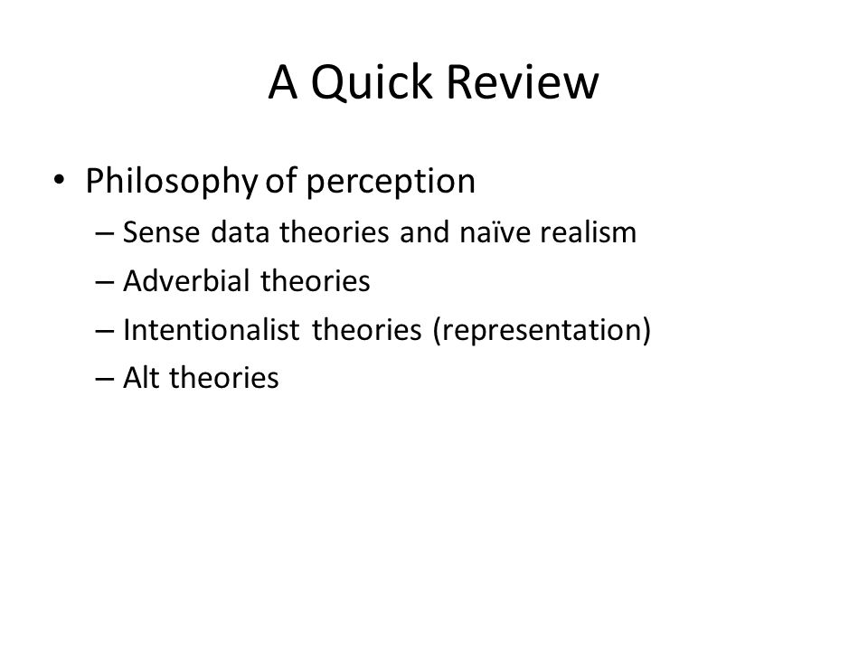 an analysis of the naive realism concept of perception Naive realism and the problem of color-seeing in dim light  i apply insights about the psychology of human perception and concept-formation to a very traditional epistemological project: the foundationalist approach to the epistemic regress problem  naive and direct realism in philosophy of mind perception in philosophy of mind.