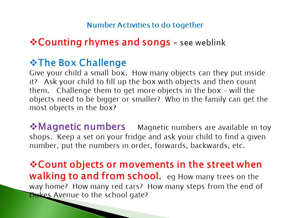 Counting rhymes and songs – see weblink The Box Challenge