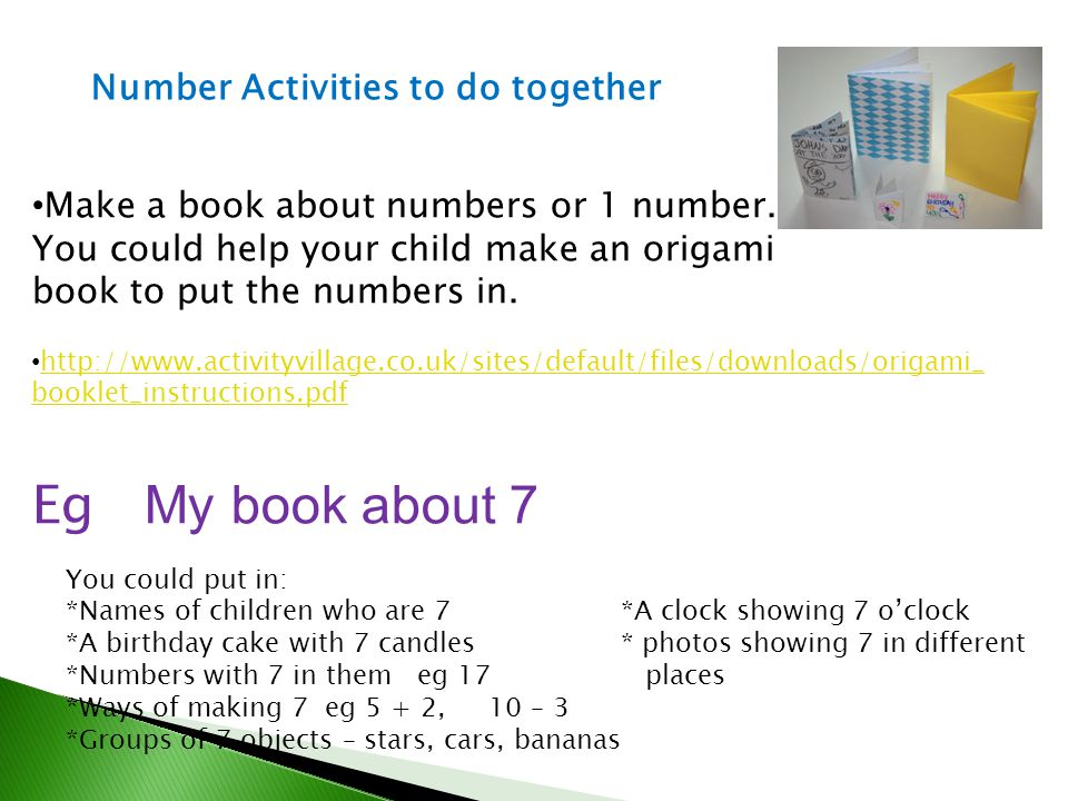 Eg My book about 7 Number Activities to do together