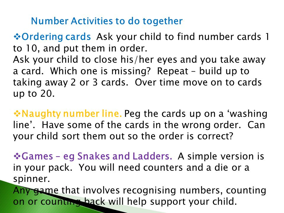 Number Activities to do together