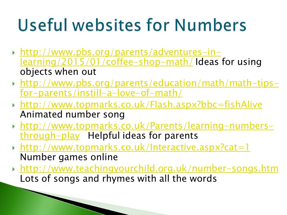 Useful websites for Numbers