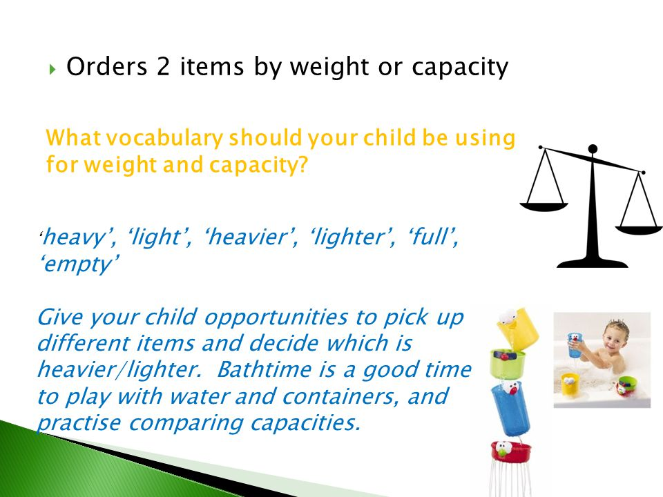 Orders 2 items by weight or capacity