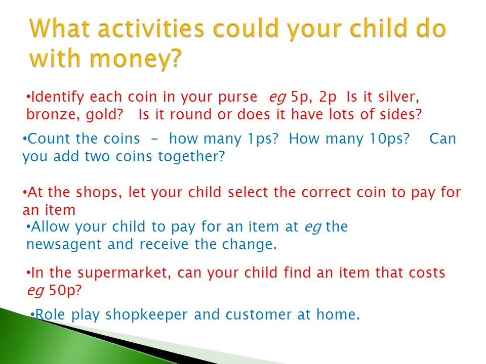 What activities could your child do with money