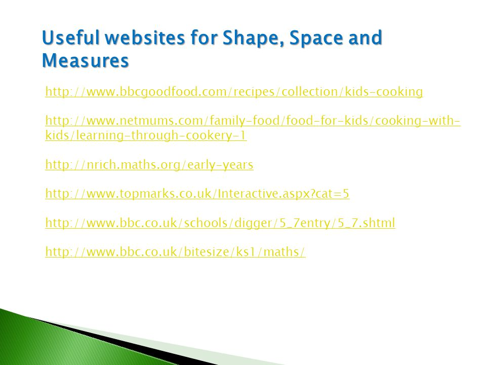 Useful websites for Shape, Space and Measures