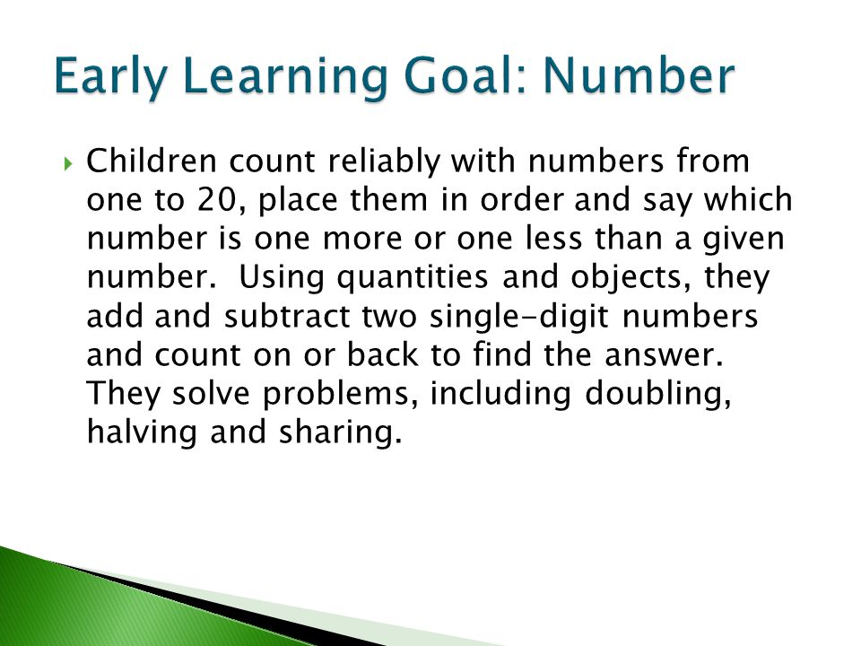Early Learning Goal: Number