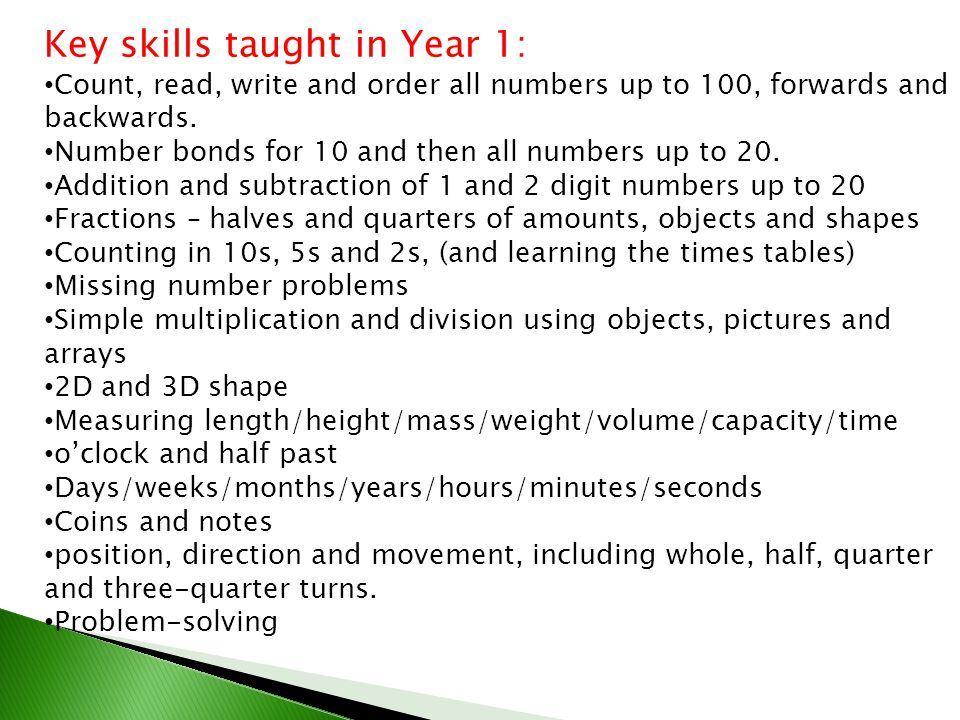 Key skills taught in Year 1: