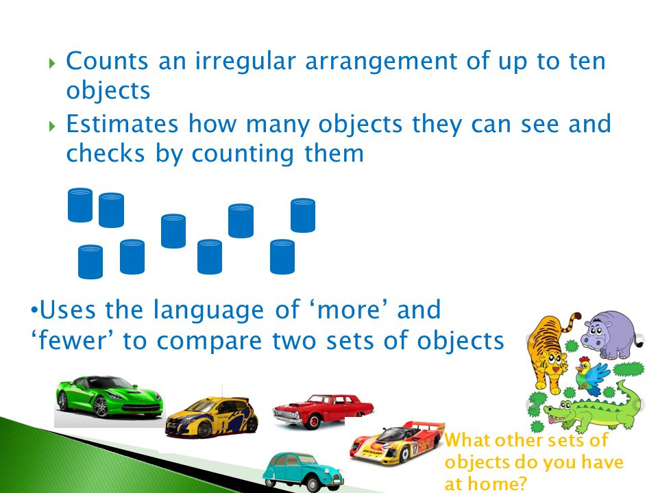 Uses the language of 'more' and 'fewer' to compare two sets of objects