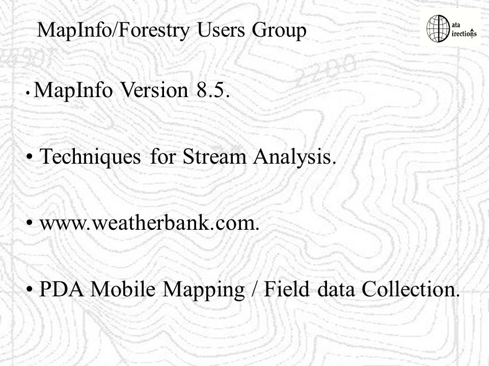 Techniques for Stream Analysis. www.weatherbank.com.