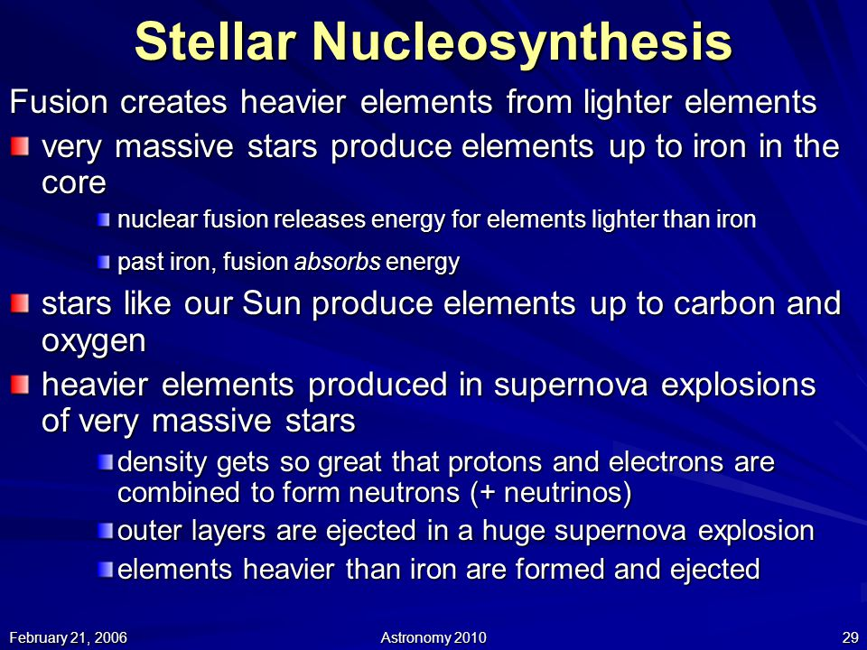 nucleosynthesis elements heavier than iron