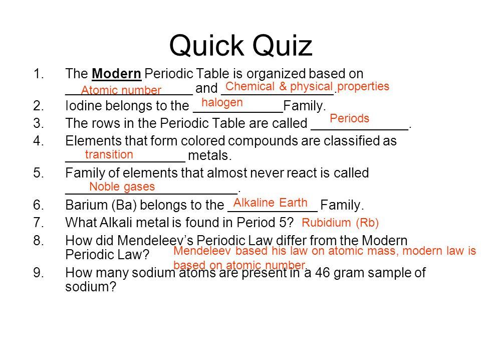 Periodic Law Example Bringing order ...