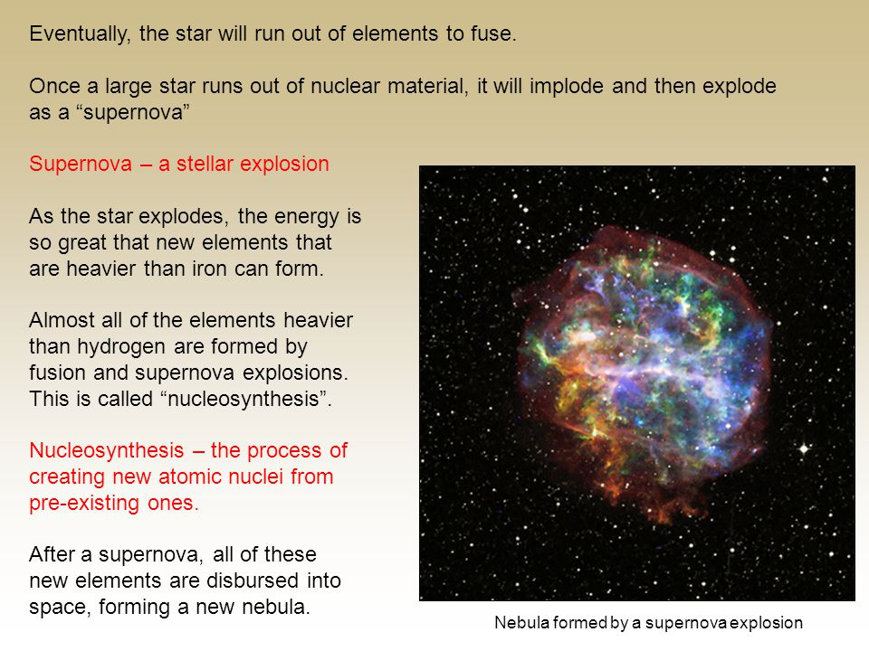 Eventually, the star will run out of elements to fuse.