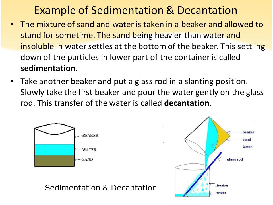 Example of Sedimentation & Decantation