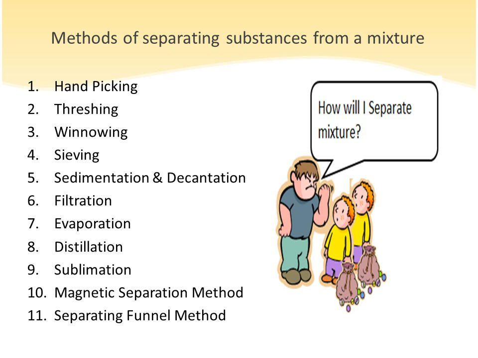 Methods of separating substances from a mixture