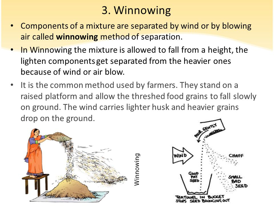 3. Winnowing Components of a mixture are separated by wind or by blowing air called winnowing method of separation.