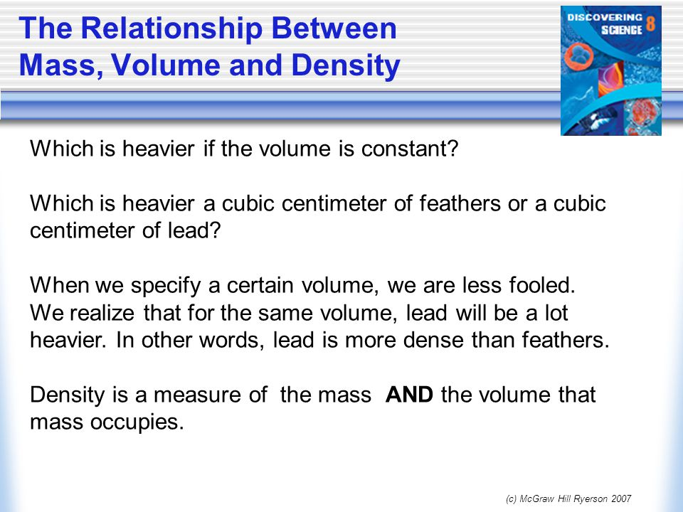 mass based on volume and density relationship