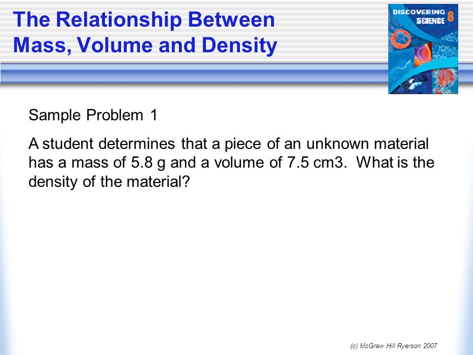 mass and volume relationship of water