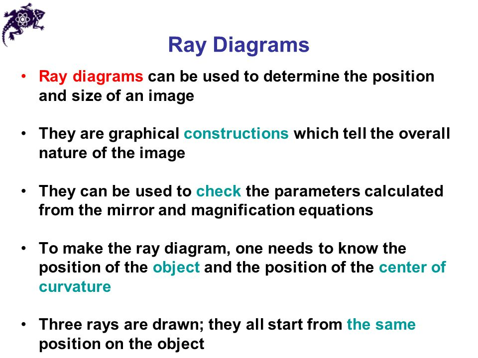 Ray Diagrams Ray diagrams can be used to determine the position and size of an image.