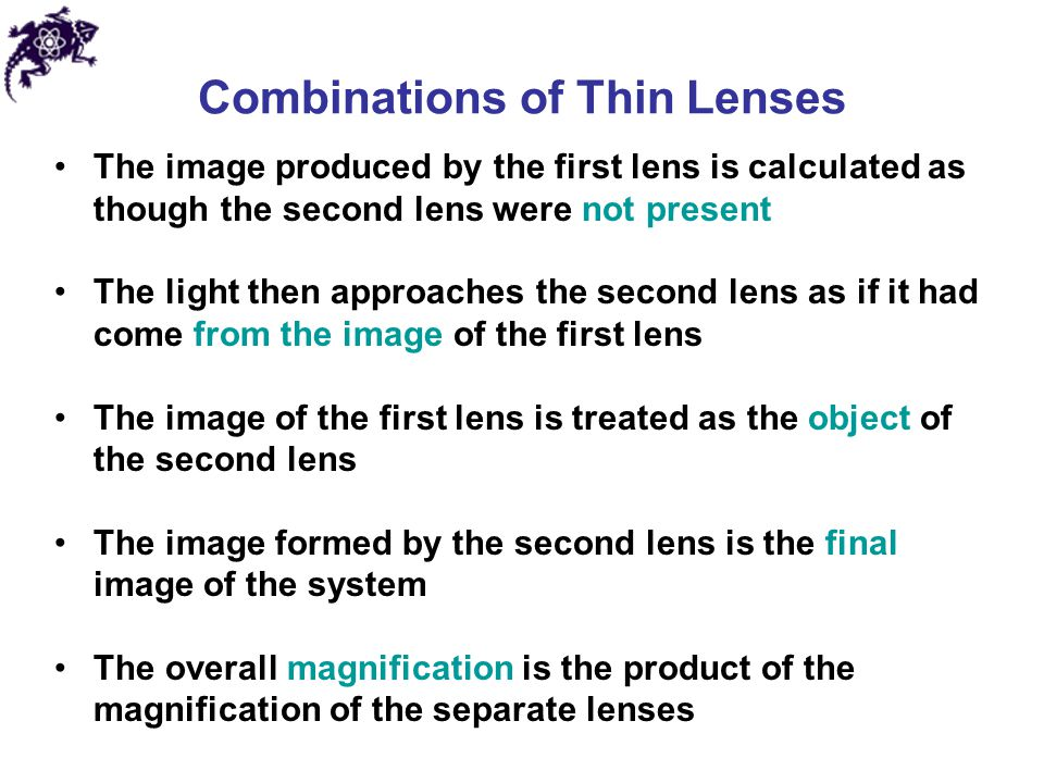 Combinations of Thin Lenses