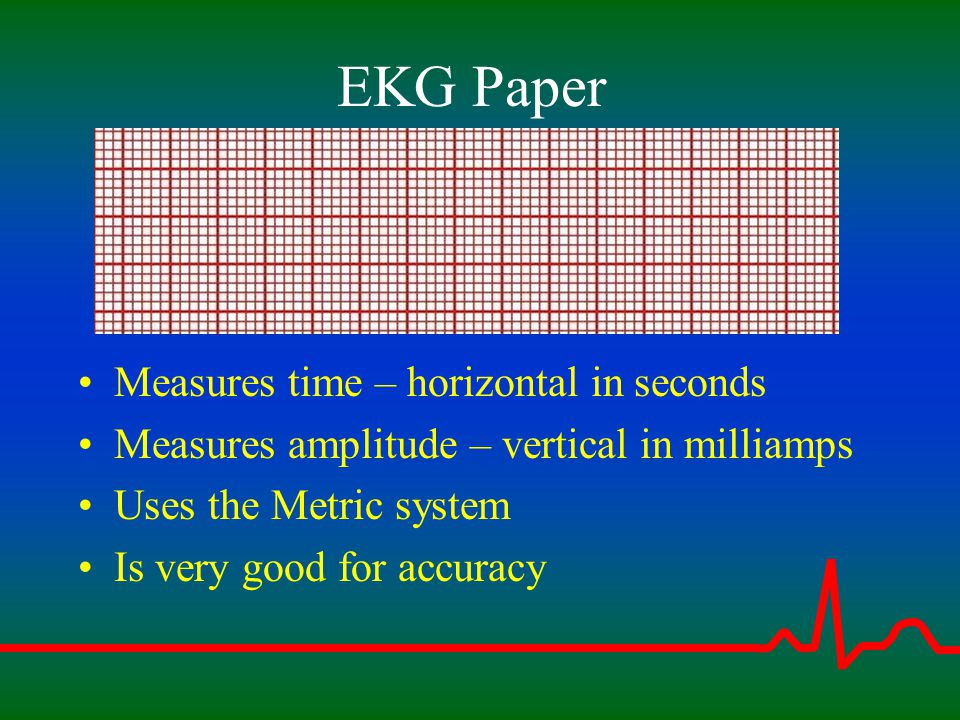 EKG Paper Measures time – horizontal in seconds