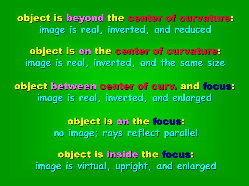 object is beyond the center of curvature: