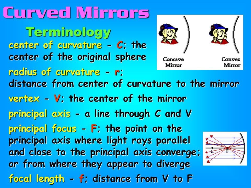 Curved Mirrors Terminology center of curvature - C; the