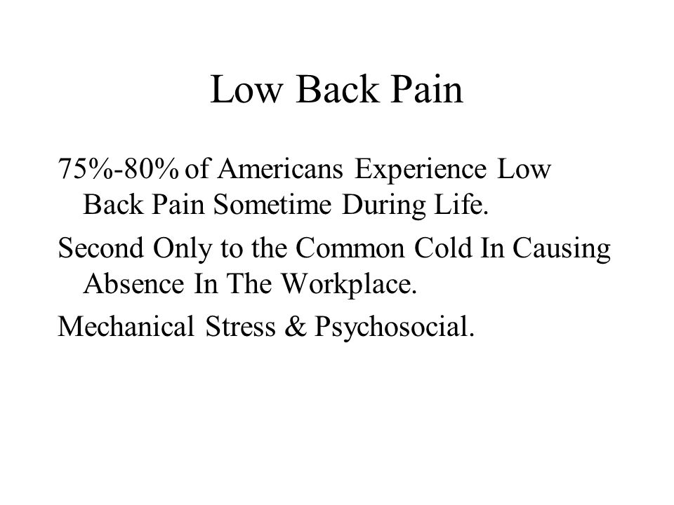 Low Back Pain 75%-80% of Americans Experience Low Back Pain Sometime During Life.