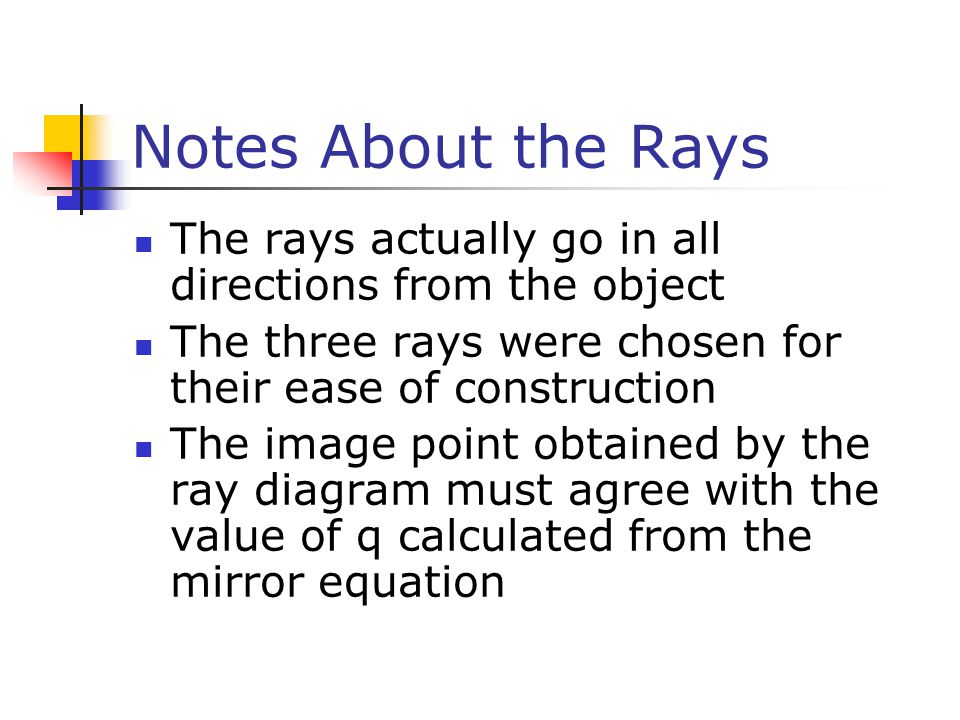 Notes About the Rays The rays actually go in all directions from the object. The three rays were chosen for their ease of construction.