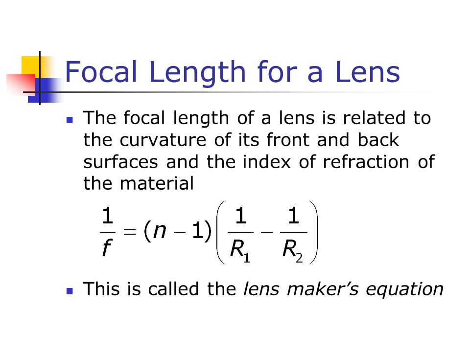 Focal Length for a Lens