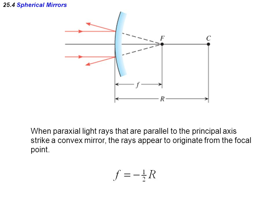 When paraxial light rays that are parallel to the principal axis