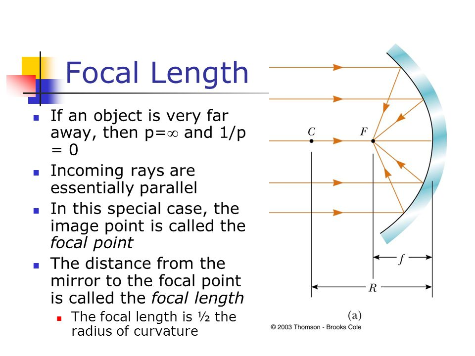 Focal Length If an object is very far away, then p= and 1/p = 0