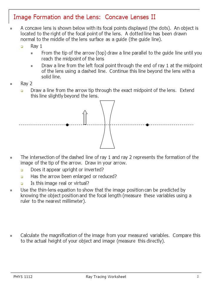Concave And Convex Lenses Worksheet