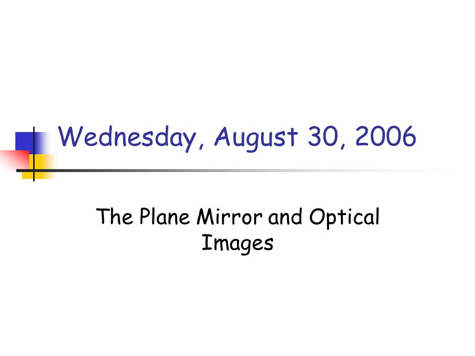 The Plane Mirror and Optical Images